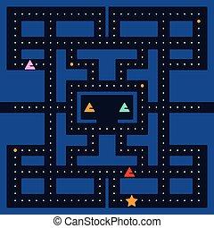 jogo, quadrado, vídeo, retro