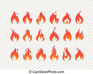 jogo, queimadura, chamas, isolado, vetorial, fundo, transparente