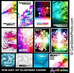 jogo, rainbows., negócio, arte, collection:, cartão