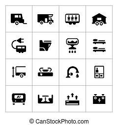 jogo, reboque, campista, caravana, ícones