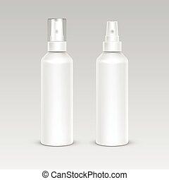 jogo, recipiente, plástico, embalagem, garrafa spray, branca