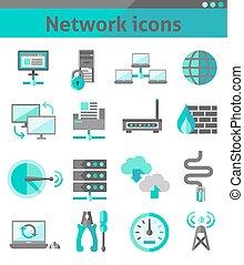 jogo, rede, ícones