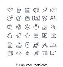 jogo, rede, ícones, mídia, vetorial, social, linha