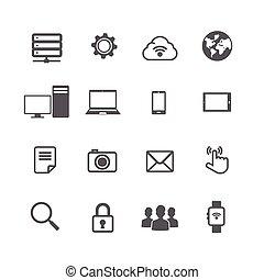 jogo, rede, isolado, conexão, computador, fundo, social, branca, ícone