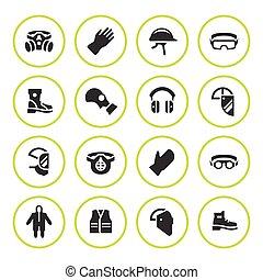jogo, redondo, ícones, de, pessoal, equipamento protetor