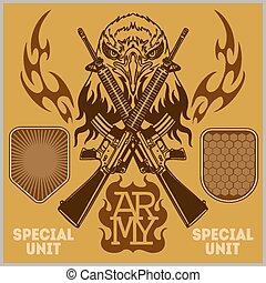 jogo, -, remendo, vetorial, unidade, militar, especiais