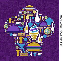 jogo, restaurante, boina, cozinheiro, forma, ícone