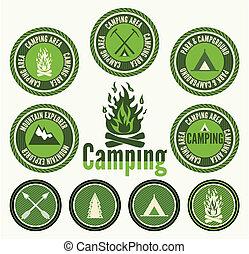 jogo, retro, emblemas, acampamento