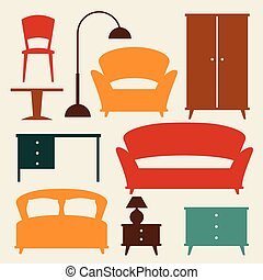 jogo, retro, interior, ícone, style., mobília