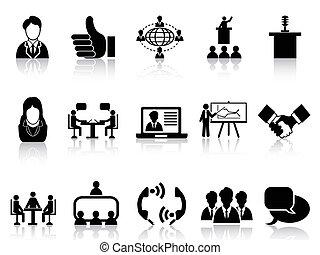 jogo, reunião, ícones negócio