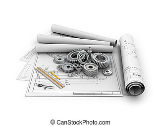 jogo, rolamentos, ilustração, engrenagens, cartazes, blueprints.3d, mentindo