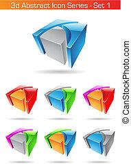 jogo, série, abstratos, -, 1, ícone, 3d