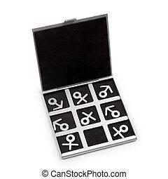 jogo, símbolos, feminina, masculino, tac, tique, dedo pé