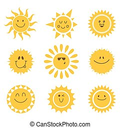 jogo, sóis, icons., vetorial, cobrança, sol