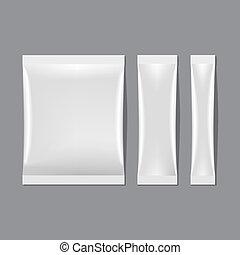jogo, sachet, embalagem, vetorial, em branco, branca