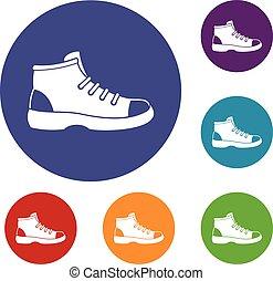 jogo, sapato, turista, ícones