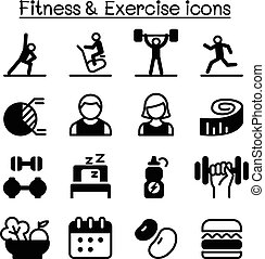 jogo, &, saudável, ícones, exercício aptidão