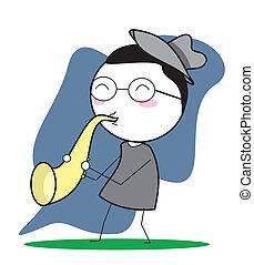 jogo, saxofone