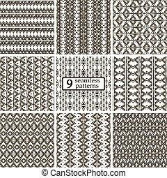 jogo, seamless, padrões, pretas, arabescos, étnico, 9, branca
