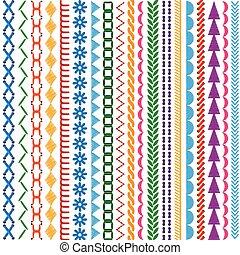 jogo, seamless, padrões, vetorial, bordado, fronteiras, pontos