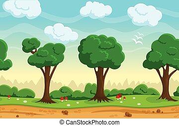 jogo, seamless, paisagem, caricatura