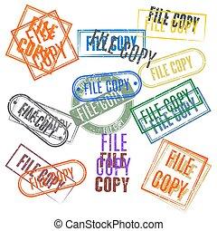 jogo, selos, arquivo, illustration., cópia, vetorial