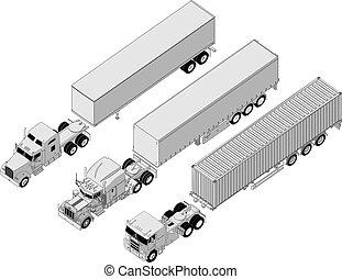 jogo, semi-caminhão
