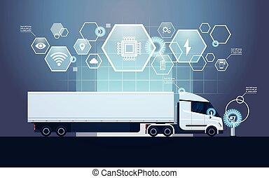jogo, semi, carregador, modernos, infographic, caminhão,...