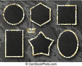 jogo, sequins, ouro, ilustração, vetorial, bordas