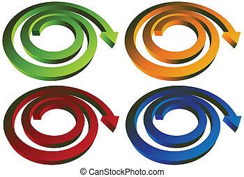 jogo, seta, espiral