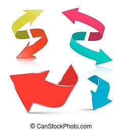 jogo, Seta,  -, setas, isolado, vetorial, fundo, branca,  3D