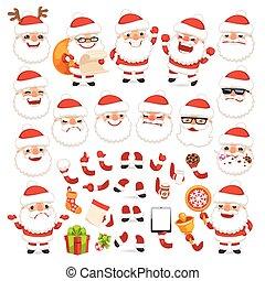 jogo, seu, claus, natal, desenho, santa, animatio, caricatura, ou