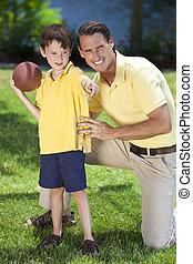 jogo, seu, futebol, pai, filho, americano, ensinando