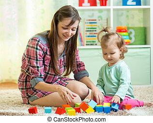 jogo, seu, mãe, junto, criança, menina