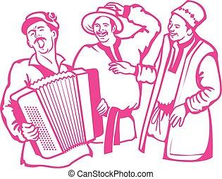 jogo, seu, songs., acordeão, cena, jogador, retro, ter, descanso, divertimento, cante, amigos