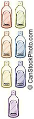 jogo, shampoo, garrafas, cor, diferente