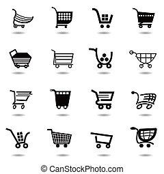 jogo, shopping, ícones, cobrança, vetorial, carreta