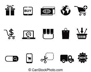 &, jogo, shopping, ecommerce, ícones
