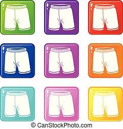 jogo, shorts, cor, ícones, cobrança, 9