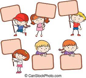 jogo, signboard, segurando, criança