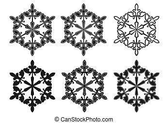 jogo, silhuetas, vetorial, fundo, snowflake branco