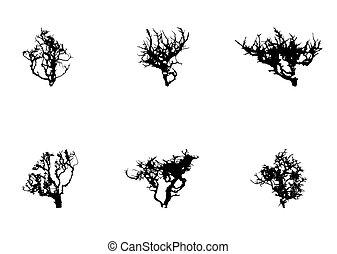 jogo, silueta, árvore, isolado, ilustração, vetorial, branca, backgorund.