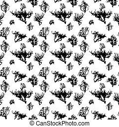 jogo, silueta, árvore, pattern., seamless, ilustração, isolado, vetorial, branca, backgorund.