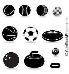 jogo, silueta, ícones, bolas, ilustração, vetorial, pretas, desporto