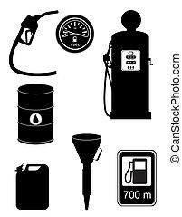 jogo, silueta, ícones, ilustração, vetorial, pretas, combustível