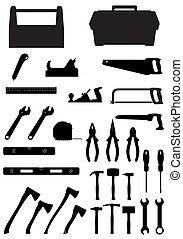 jogo, silueta, ícones, ilustração, vetorial, pretas, ferramentas
