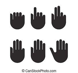jogo, silueta, ícones, mão, pretas, sinais, contagem