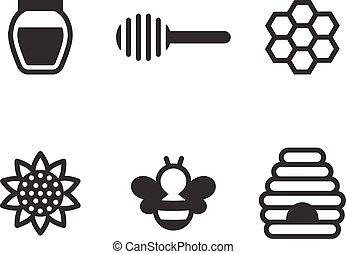 jogo, silueta, abelha, mel, vetorial, ícone