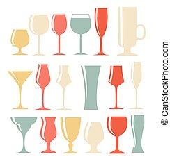 jogo, silueta, alcoólico, ilustração, vidro, vetorial, pretas, eps1