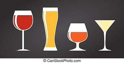 jogo, silueta, alcoólico, ilustração, vidro, vetorial, pretas